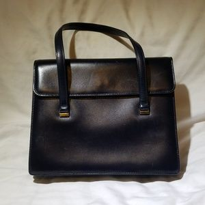 VINTAGE NO LABEL Blue Leather Kelly-ish Style Bag
